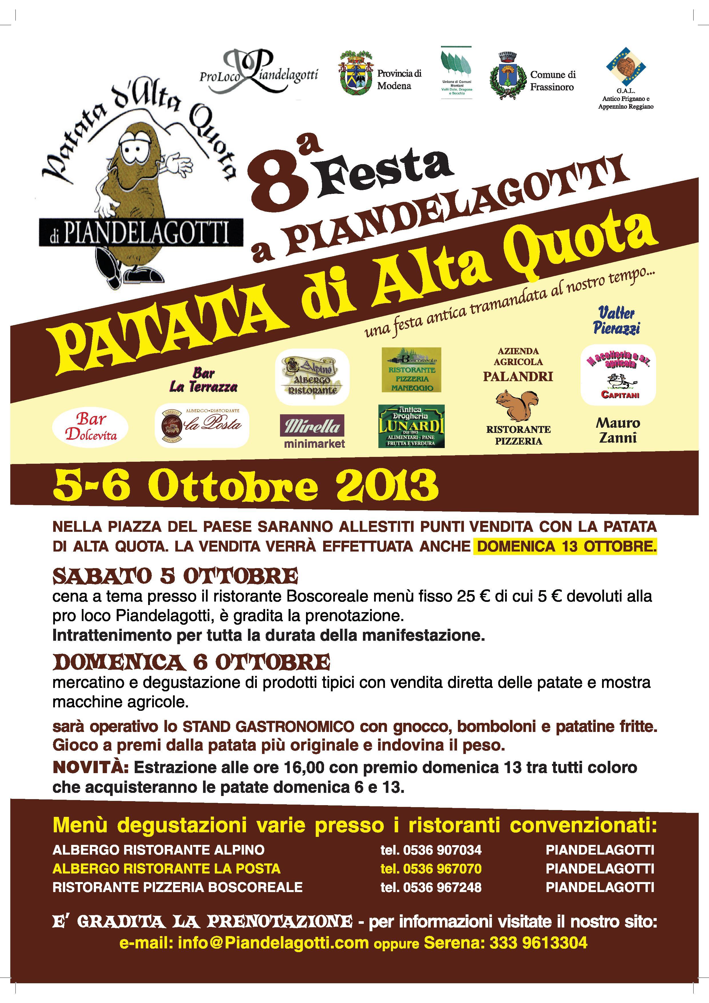 8° Festa a Piandelagotti PATATA DI ALTA QUOTA